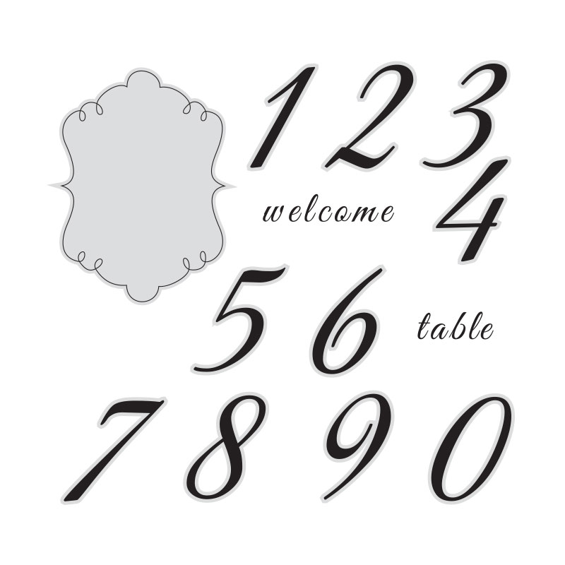 The gallery for elegant numbers for Table number design template